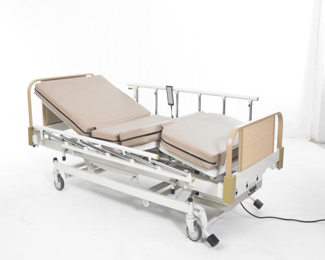 เตียงไฟฟ้า 3 ไกร์ 3 ระบบ (ไฟฟ้า,แบตฯ,มือหมุน) แบบ ABS ราวปีกนก รหัส MEA014