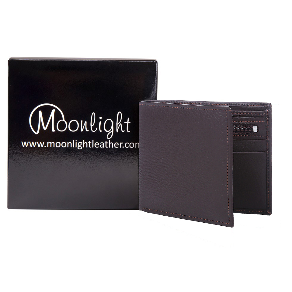 กระเป๋าสตางค์หนังวัวแท้ สำหรับผู้ชาย แบรนด์ Moonlight รุ่น Boss สีน้ำตาลเข้ม สวย ทน เบาบาง นิ่มมาก พร้อมกล่องเป็นของขวัญได้