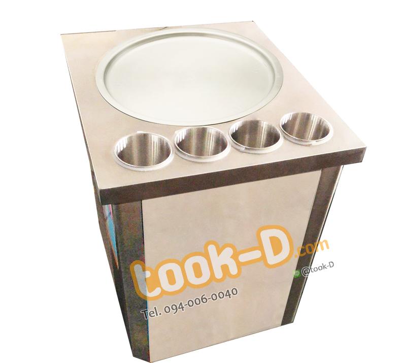 เครื่องทำไอติมผัด (แบบ 1 กระทะ 4 หลุม)