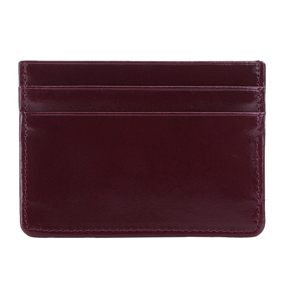 กระเป๋าใส่บัตร หนังแท้ รุ่น Simply สีม่วง ทนทาน บางเฉียบ พกพาง่าย