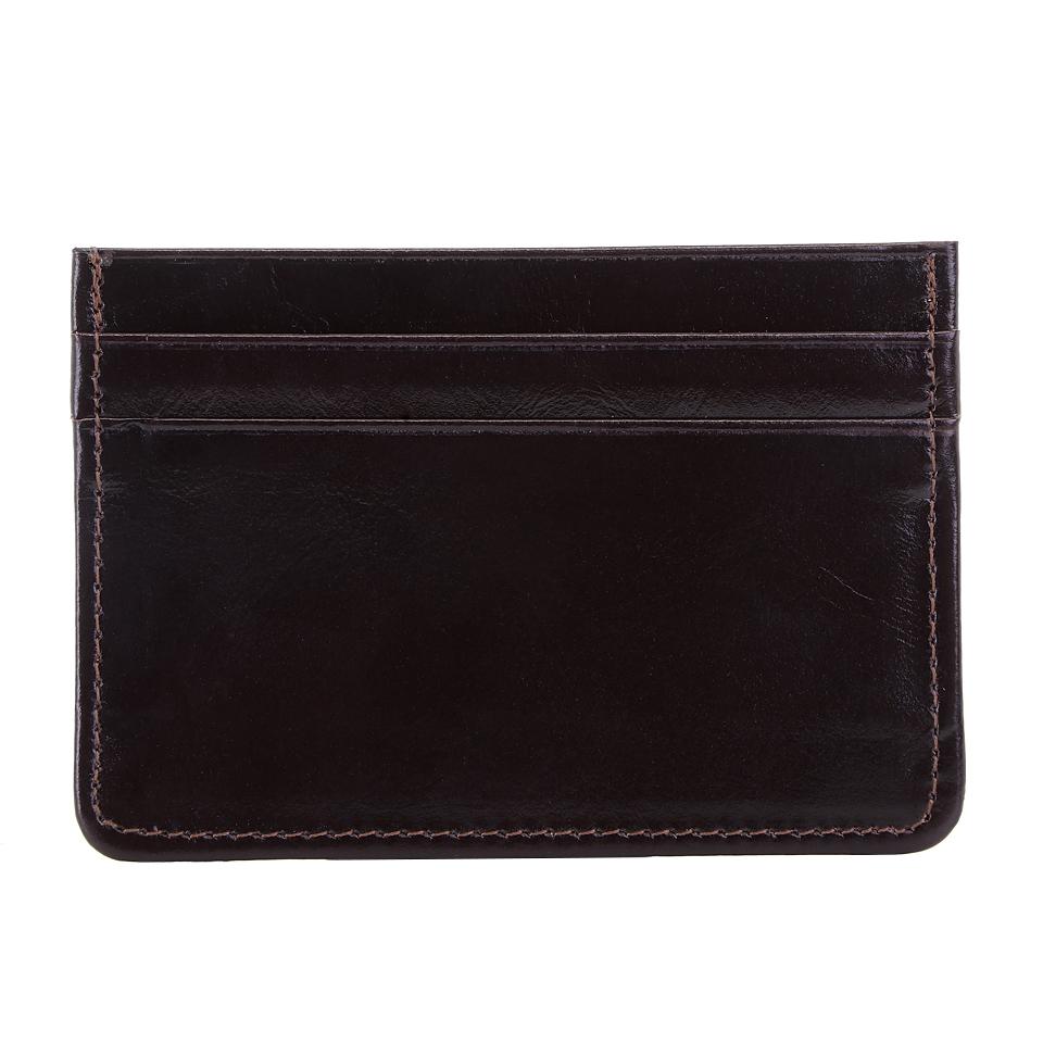กระเป๋าใส่บัตร หนังแท้ รุ่น Simply สีน้ำตาลเข้ม ทนทาน บางเฉียบ พกพาง่าย
