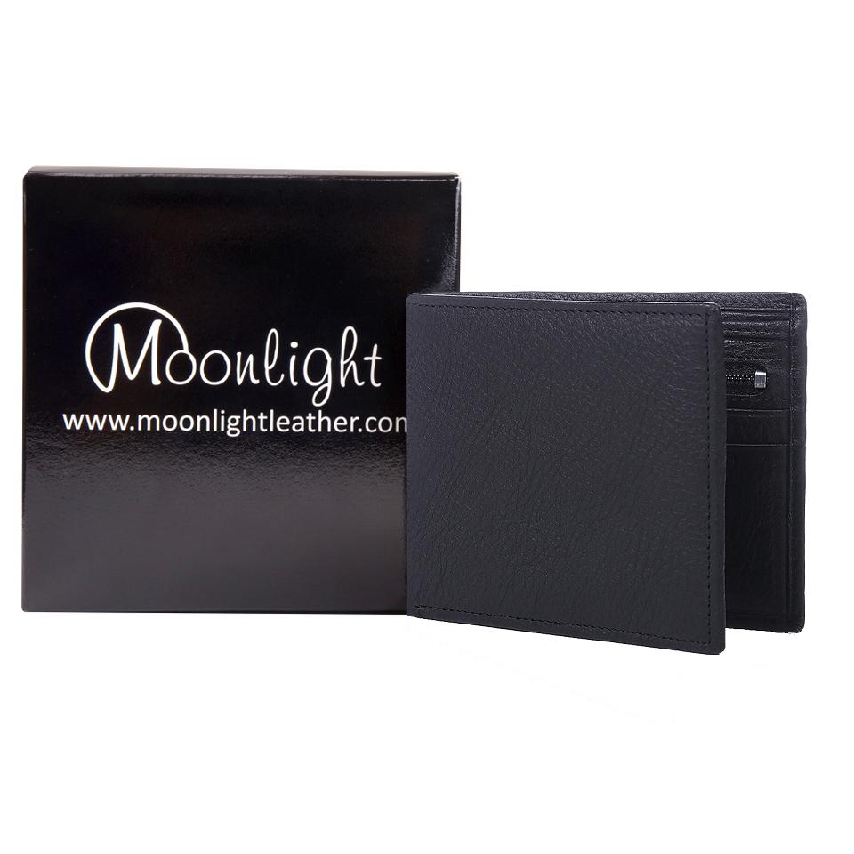 กระเป๋าสตางค์หนังวัวแท้ สำหรับผู้ชาย แบรนด์ Moonlight รุ่น Boss สีดำ สวย ทน เบาบาง นิ่มมาก พร้อมกล่องเป็นของขวัญ ส่งฟรี