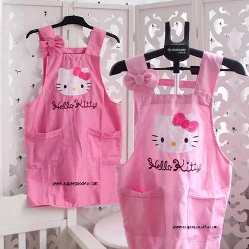 ผ้ากันเปื้อนสไตล์ญี่ปุ่นลาย Hello kitty สีสมพูสดใสน่ารัก