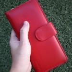 กระเป๋าสตางค์ผู้หญิง ใบยาวสวยงาม สีแดง ทำจากหนังวัวแท้แสนนุ่ม ทนทาน โดนน้ำได้ ไม่ลอกร่อน พร้อมกล่องแบรนด์แท้ Moonlight