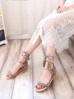 รองเท้าส้นเตี้ยสีเทา ทรงพันข้อ สินค้าชนชอปแต่พู่ไหมญี่ปุ่น พู่น่ารักๆสไสต์ โบฮีเมียม พันได้หลายสไตล์ พื้นนิ่ม ใส่ง่าย เข้ากับทุกชุด