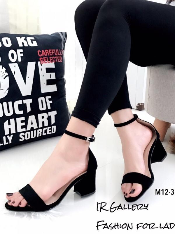 รองเท้าส้นสูง รัดข้อเท้า หนังนิ่ม สายรัดแบบตะขอเกี่ยว ทรงสุภาพ ใส่ได้หลายโอกาส (สีดำ )