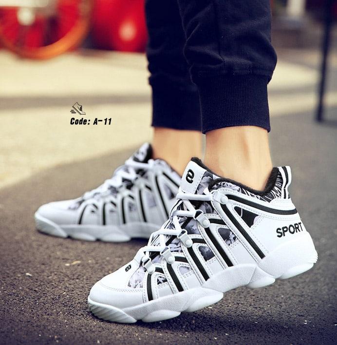 รองเท้าผ้าใบ PU ทรง SPORT-Black A-11 [สีดำ]