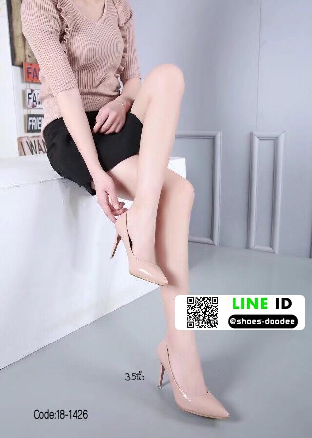 รองเท้าคัชชูงานหนังแก้ว 18-1426-PNK [สีขาว]