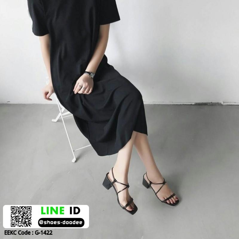 รองเท้าส้นสูงรัดส้น สไตล์เกาหลี G-1422-BLK [สีดำ]