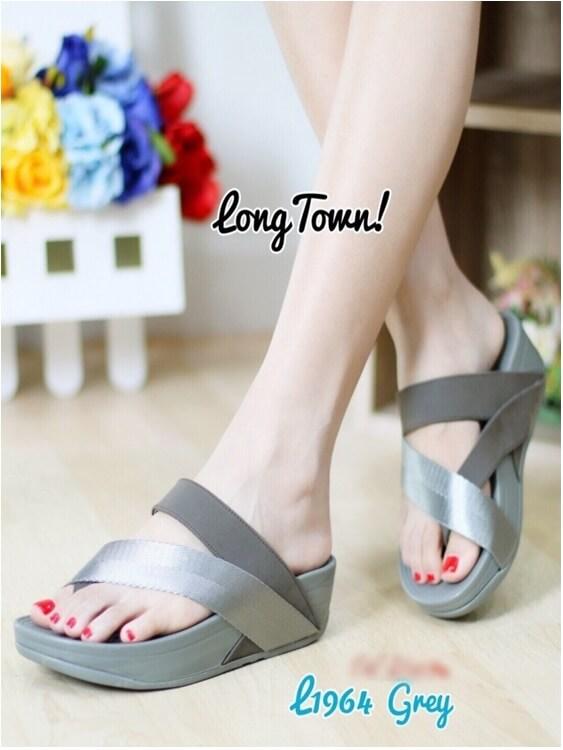 รองเท้าส้นเตารีด แบบสวมนิ้วโป้ง สไตล์fitflop (สีเทา )