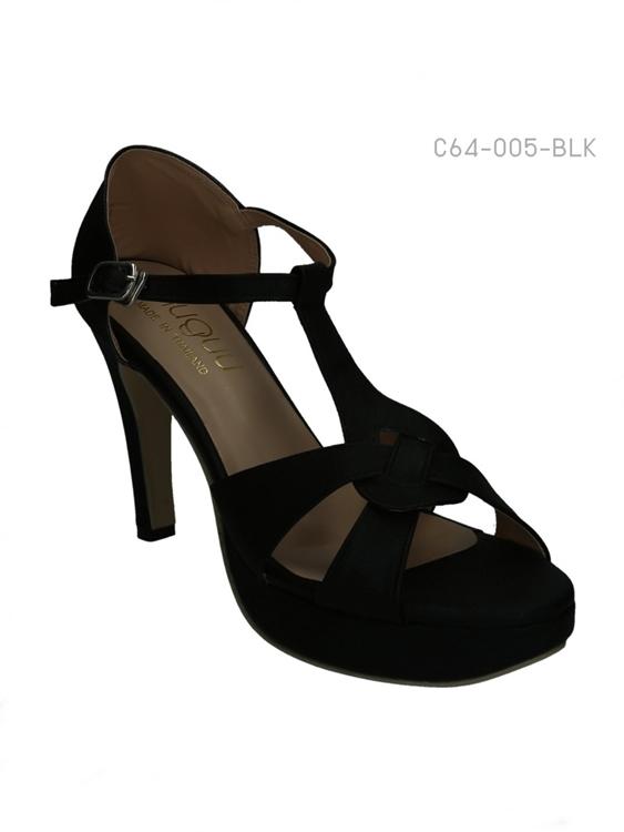 รองเท้าส้นสูงรัดส้น แต่งกลิตเตอร์ (สีดำ )