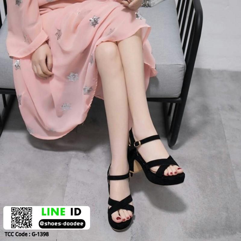 รองเท้าส้นตันรัดส้น งานใส่สบาย G-1398-BLK [สีดำ]