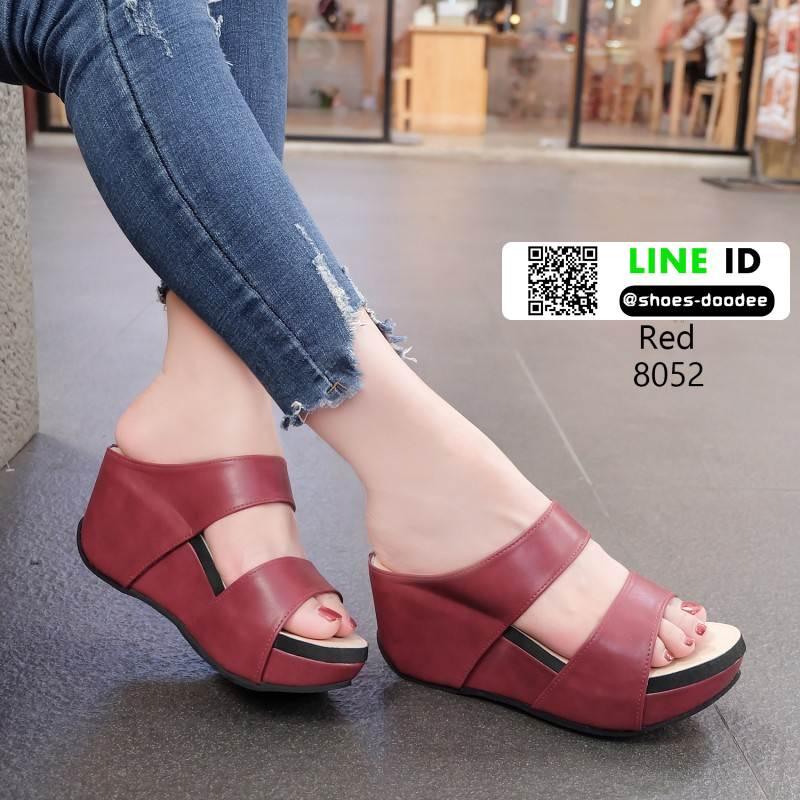 รองเท้าส้นเตารีดแบบสวม2ตอน 8052-แดง [สีแดง]