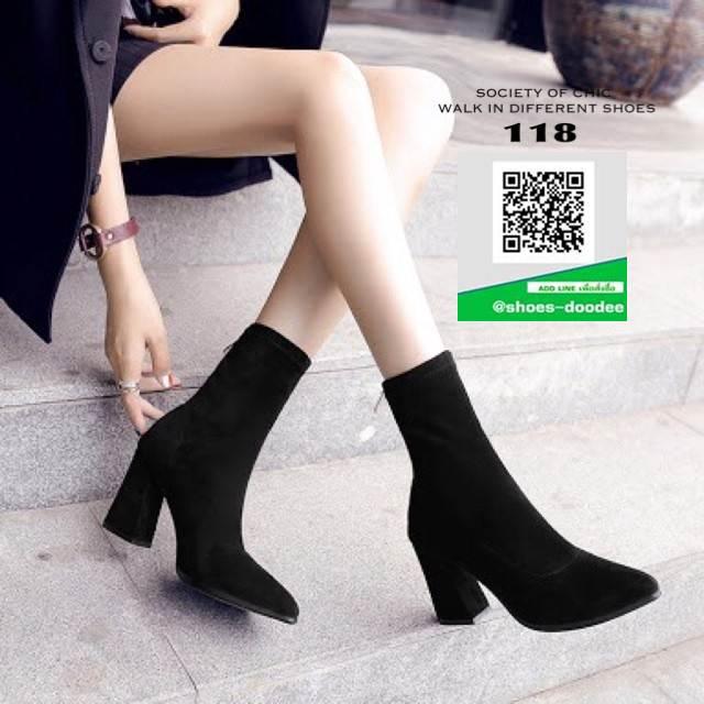 รองเท้าบูทส้นสูงสีดำ ทรงสูง ซิปหลัง (สีดำ )