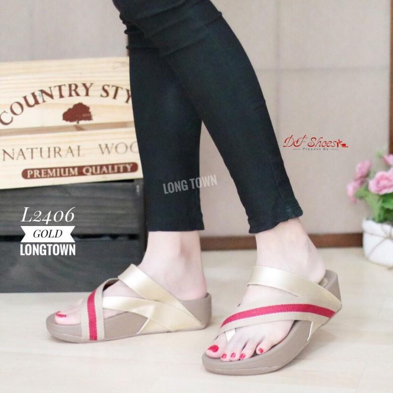 รองเท้าแตะเพื่อสุขภาพสีทอง แบบคีบนิ้วโป้ง สไตล์ FITFLOP (สีทอง )