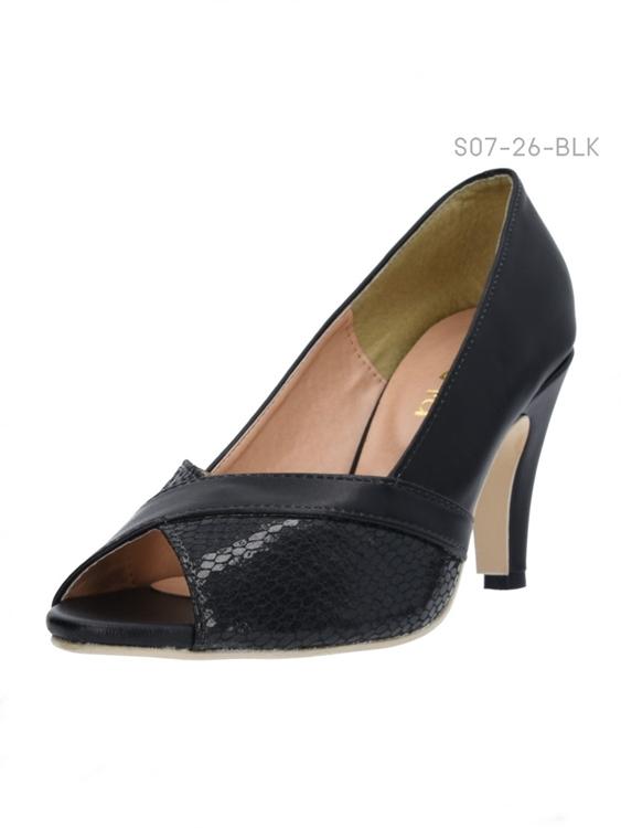 รองเท้าคัทชูส้นสูงแบบเปิดนิ้วเท้า แต่งลายหนังงู (สีดำ )