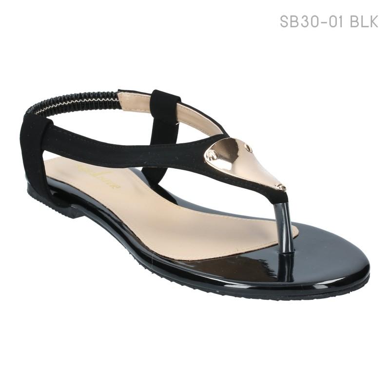 ลดล้างสต๊อก รองเท้าส้นแบน SB30-01-BLK [สีดำ]