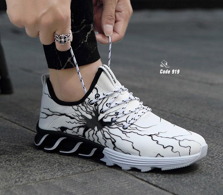 รองเท้าผ้าใบ หนัง PU ลายสุดแนว-White 919 [สีขาว]
