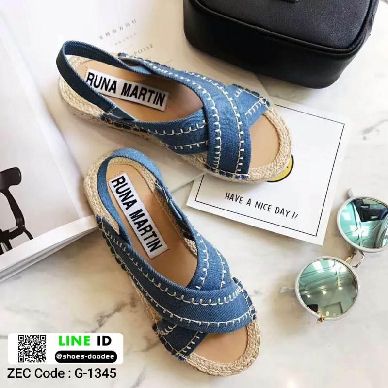 รองเท้าแตะงานเกาหลี งานดีมาก แตะปอ G-1345-LBLU [สีฟ้า]
