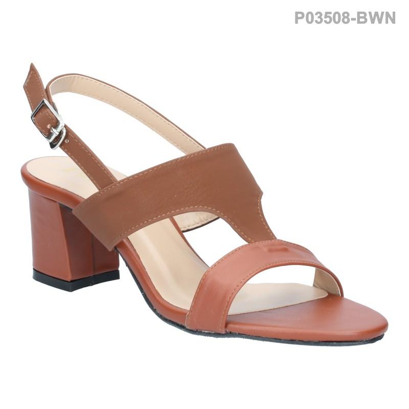 ลดล้างสต๊อก รองเท้าส้นเตี้ย P03508-BWN [สีน้ำตาล]
