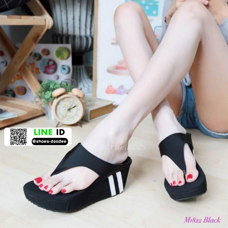 รองเท้าลำลองส้นเตารีดแบบคีบ M1822-BLK [สีดำ]