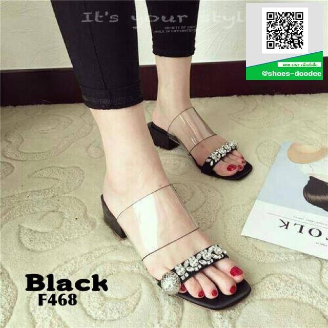 รองเท้าแตะผู้หญิงสีดำ pu ใส นิ่มไม่บาดเท้า (สีดำ )