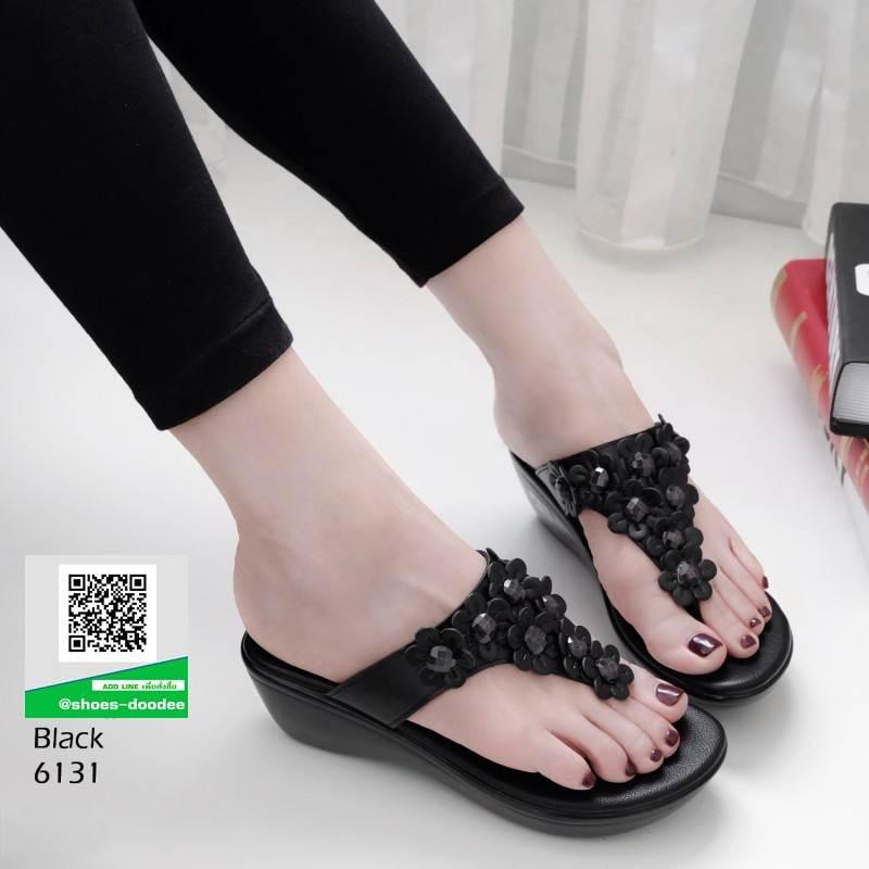 รองเท้าลำลอง แบบหูคีบหนังนิ่ม 6131-ดำ [สีดำ]