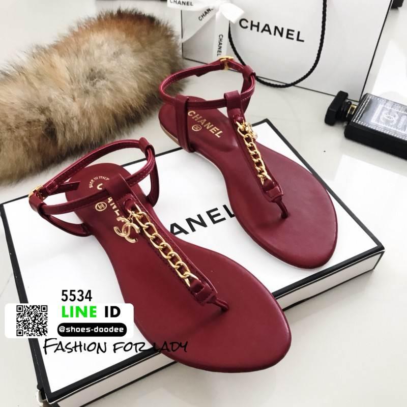 รองเท้าแตะวัสดุหนังนิ่มแบบคีบ Style Chanel 5534-แดง [สีแดง]