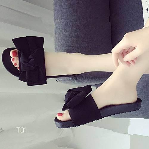 รองเท้าแตะแฟชั่นสีดำ เปิดส้น ผ้ากำมะหยี่ผูกโบว์ (สีดำ )