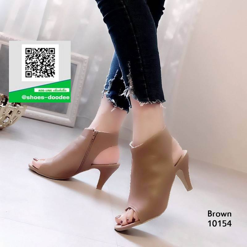 รองเท้าส้นสูงรัดข้อสีน้ำตาล สไตล์ปราด้า (สีน้ำตาล )