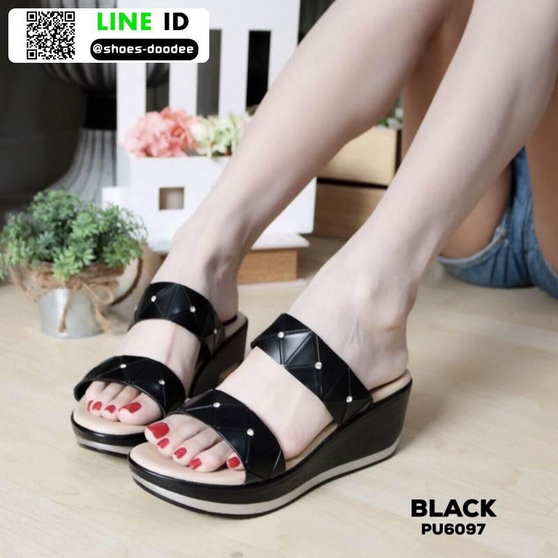 รองเท้าแตะพียู แบบสวม ส้นโฟม PU6097-BLK [สีดำ]