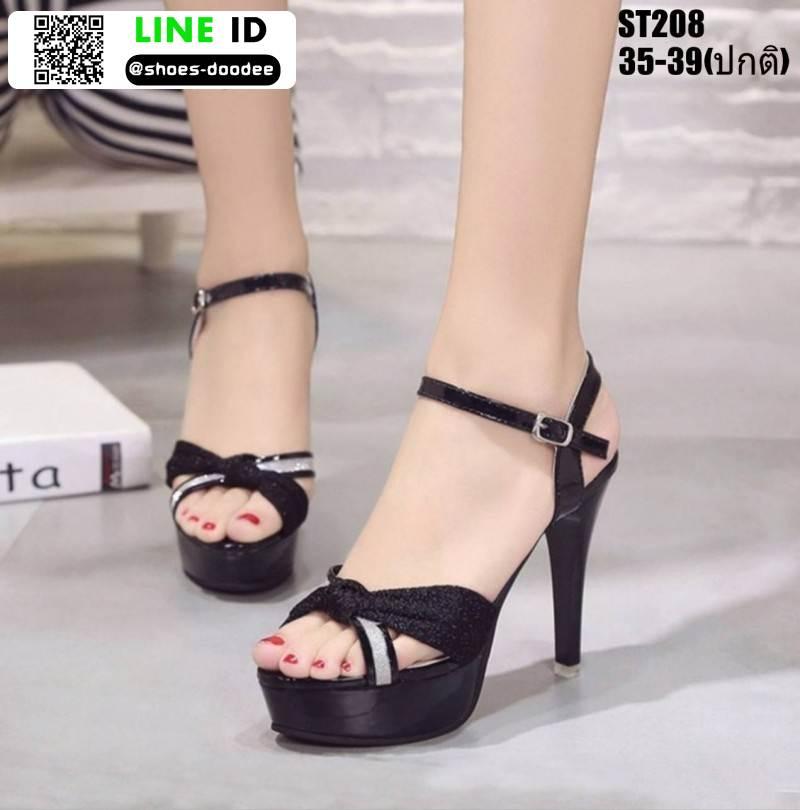 รองเท้าส้นสูงรัดข้อเปิดท้าย ST208-BLK [สีดำ]