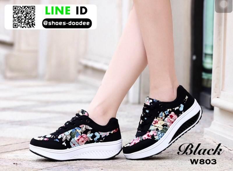 รองเท้าผ้าใบ แบบเสริมพื้นลายดอก W803-BLK [สีดำ]