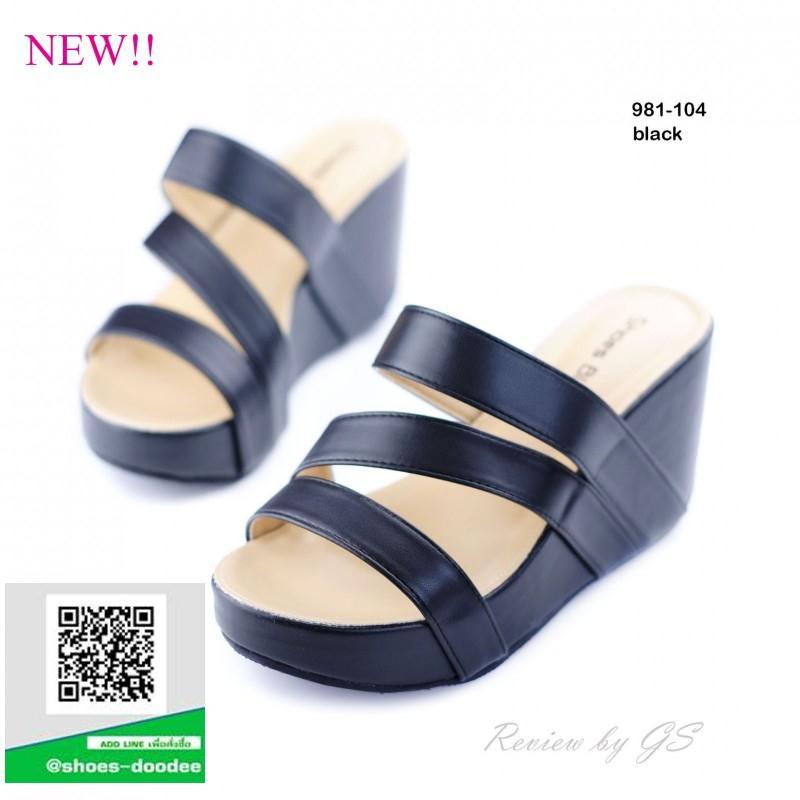 รองเท้าส้นเตารีดเปิดส้นสีดำ คาดหน้าทรงเก๋ (สีดำ )
