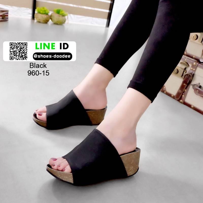รองเท้าส้นเตารีดหน้าเต็ม 960-15-ดำ [สีดำ]