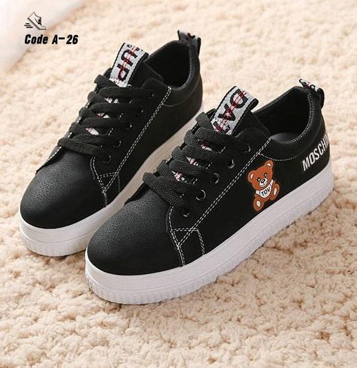 รองเท้าผ้าใบหนัง PU ดีไซน์น่ารักๆ-Black A-26 [สีดำ]