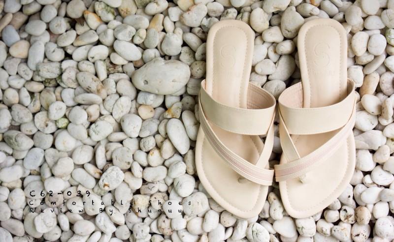 ลดล้างสต๊อก รองเท้าส้นเตี้ย C62039-APR [สีแอปริคอท]