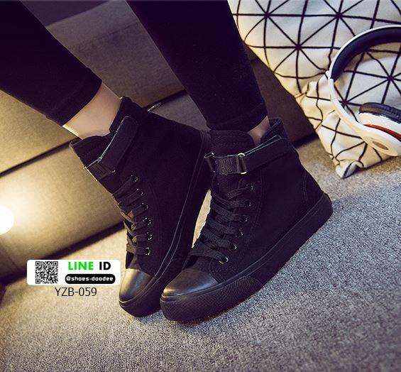 รองเท้าผ้าใบหุ้มข้อนำเข้า สไตล์เกาหลี YZB-059-BLK [สีดำ]