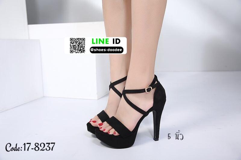 รองเท้าส้นสูงรัดส้น สไตล์เกาหลี งานนำเข้า 17-8237D5-BLK [สีดำ]