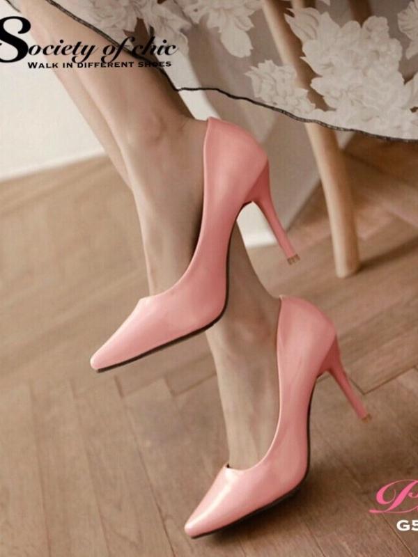รองเท้าคัชชูส้นเข็ม หนังแก้วนิ่ม หัวแหลม (สีชมพู )