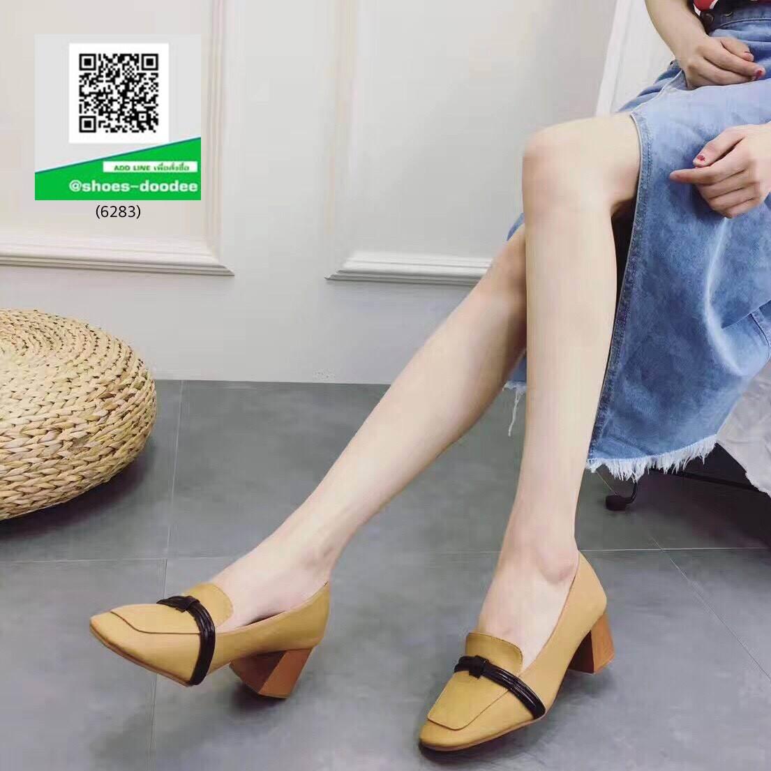 รองเท้าคัทชูส้นตันสีแทน หนังนิ่ม ทรงสวย (สีแทน )