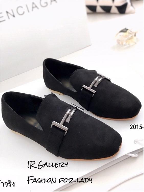 รองเท้าคัทชูส้นแบน หนังกลับนิ่ม แต่งอะไหล่H สวยคลาสสิค (สีดำ )