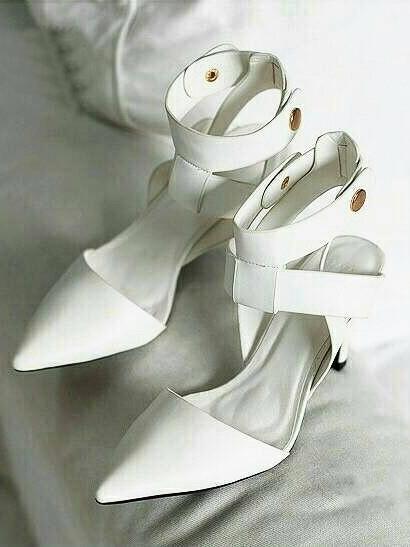 รองเท้าส้นเข็มรัดข้อ สไตล์ ZARA (สีขาว )