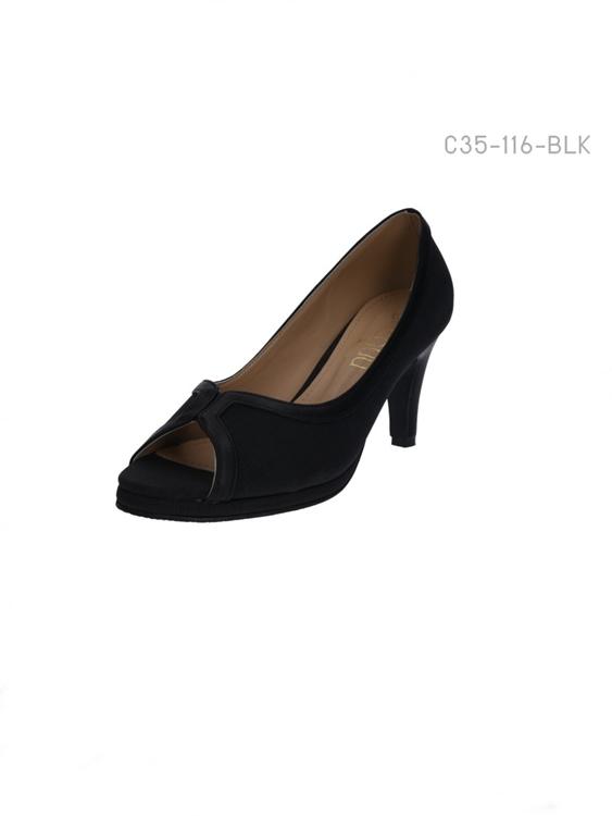 รองเท้าคัทชูส้นสูง เปิดด้านหน้า โชว์นิ้วเท้า (สีดำ )