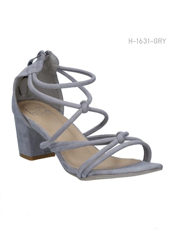 รองเท้าส้นสูงสานรัดส้น สไตล์ลำลอง (สีเทา)