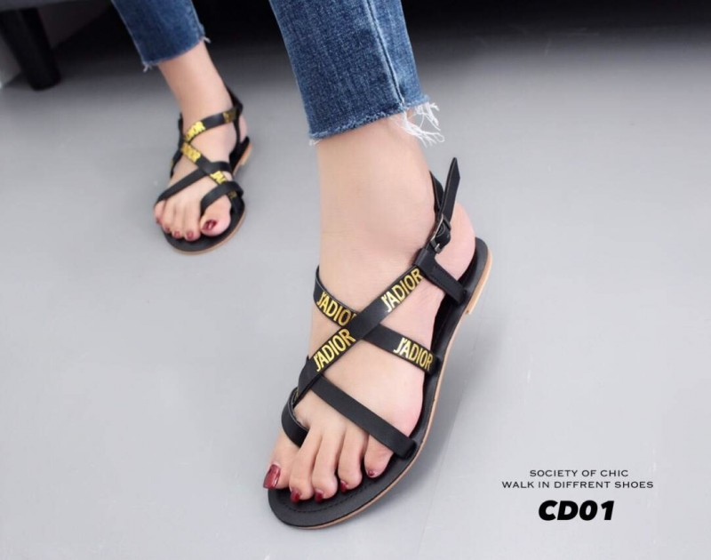 รองเท้าแตะรัดส้นสีดำ Style Christian Dior (สีดำ )