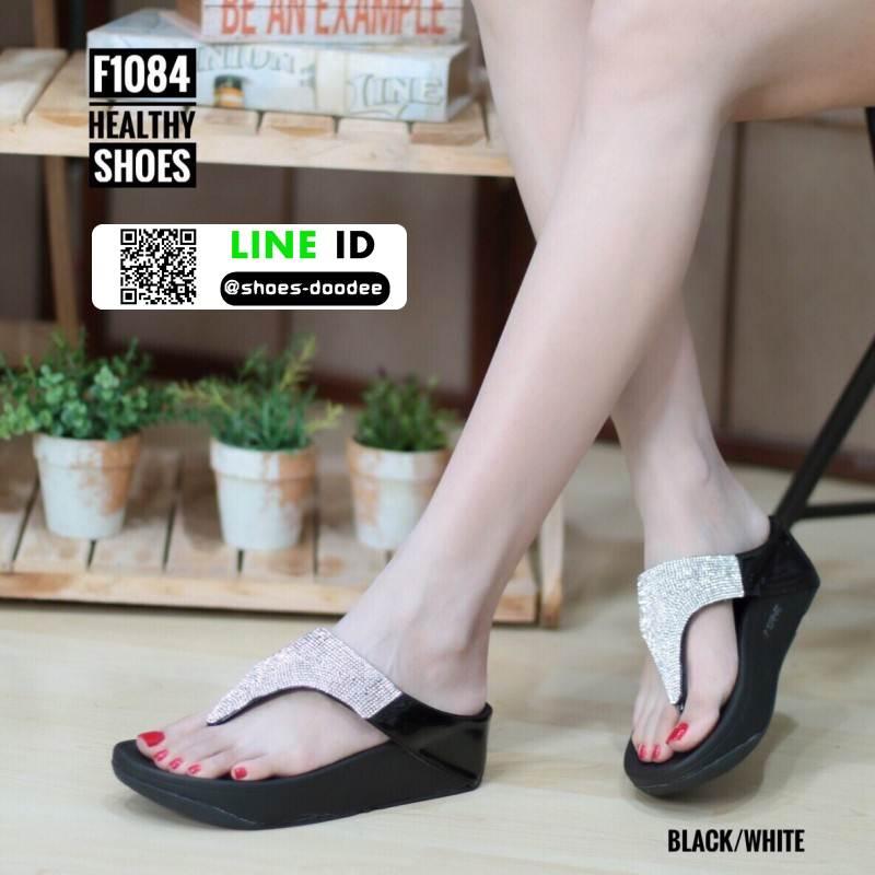 รองเท้าสุขภาพสไตล์ฟิตฟรอปผ้านิ่มมาก F1084-BLK-SIL [สีดำ/เงิน]