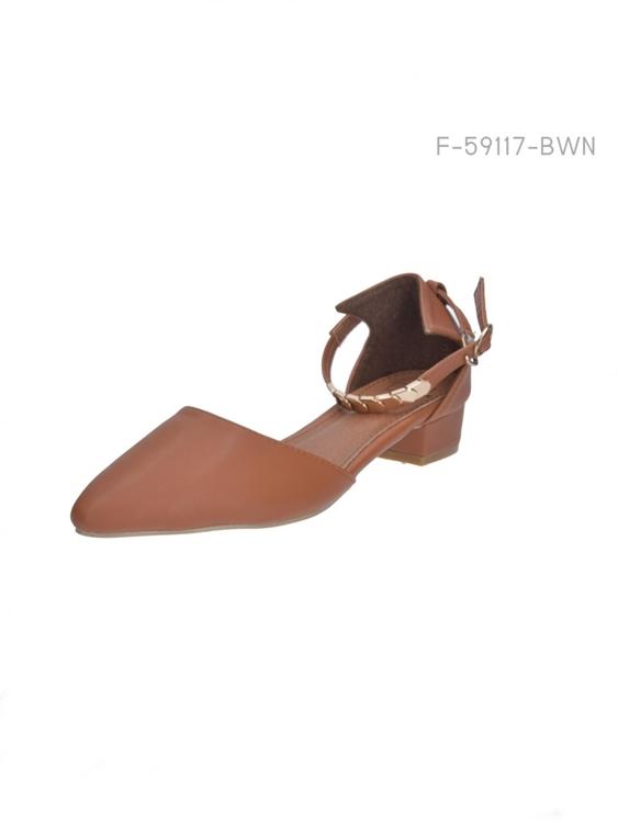 รองเท้าแฟลตส้นเตี้ย หัวแหลม (สีน้ำตาล)