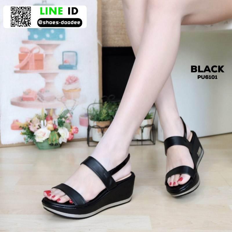 รองเท้าแตะพียู ส้นโฟม รัดส้น PU6101-BLK [สีดำ]