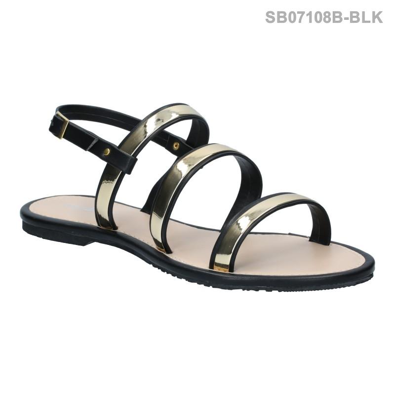 ลดล้างสต๊อก รองเท้าส้นแบน SB07108B-BLK [สีดำ]